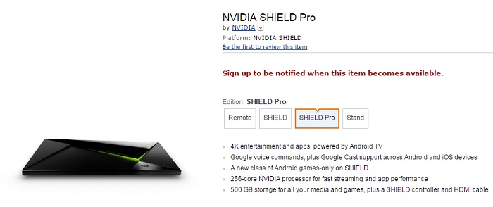 Nvidia 500GB Shield Android TV console shows up online