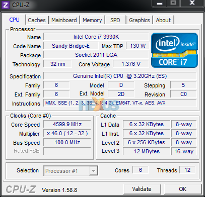 CPU-Z Overclocked to 4.6 MHz
