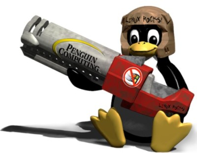 Tux the Linux mascot w/ Quake 3 rocket launcher. Image from PenguinComputing.com