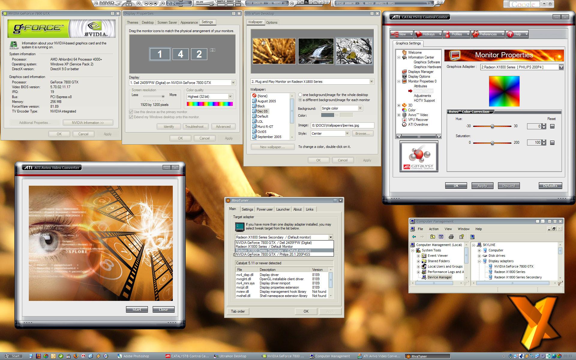 ... top row then bottom: NVIDIA display driver main property sheet, Windows Display Properties Settings, Ultramon monitor wallpaper chooser, ATI CATALYST ...
