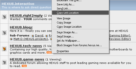 Copy RSS link location