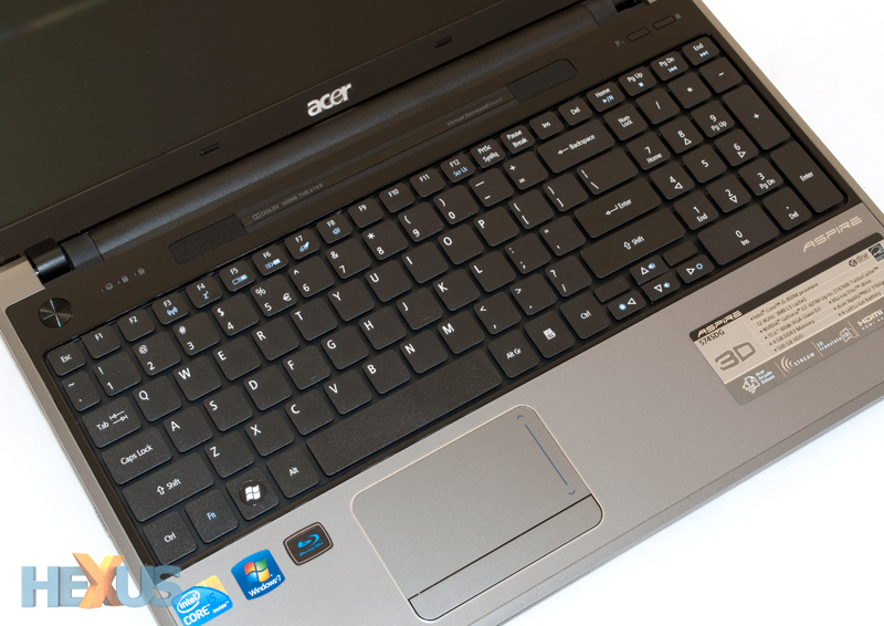 Making full use of the notebook's width, Acer's keyboard features ...
