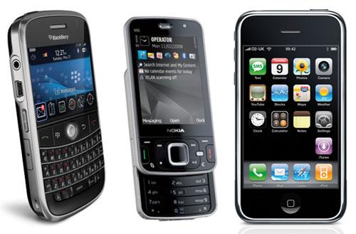 BlackBerry Bold (left), Nokia N96 (centre), Apple iPhone 3G (right)