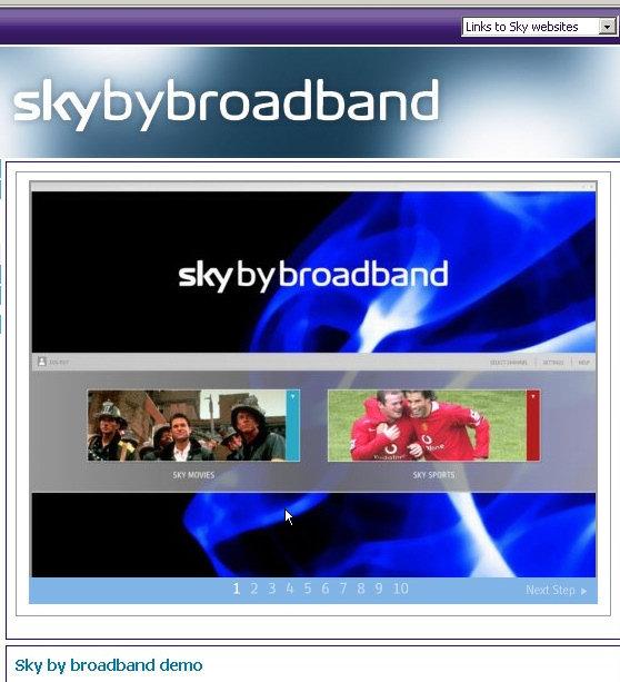 Demo Sky by broadband - choosing between movies and sport
