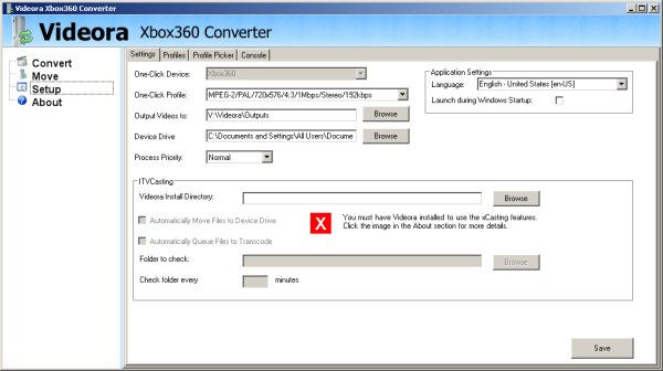 Videora Xbox360 Converter Settings tab