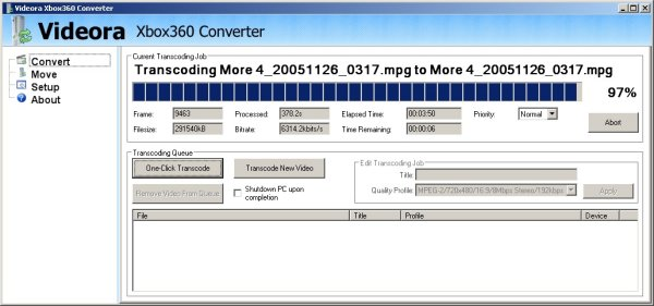 Videora Xbox360 Converter carrying out encoding