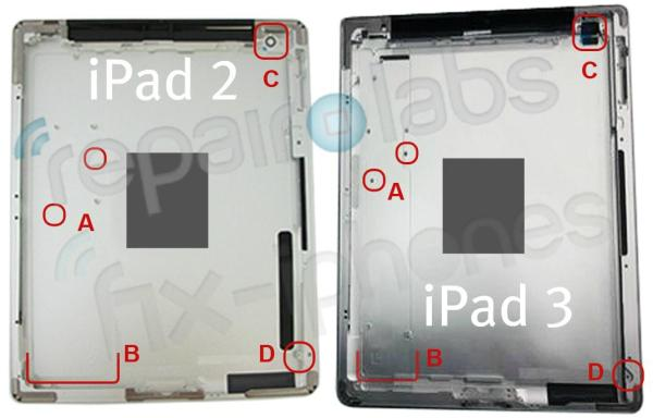 Apple iPad 2 vs iPad 3 rear shell