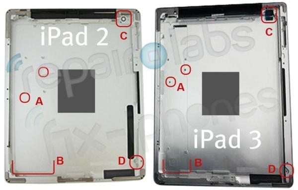 Apple iPad 2 vs iPad 3 rear shell
