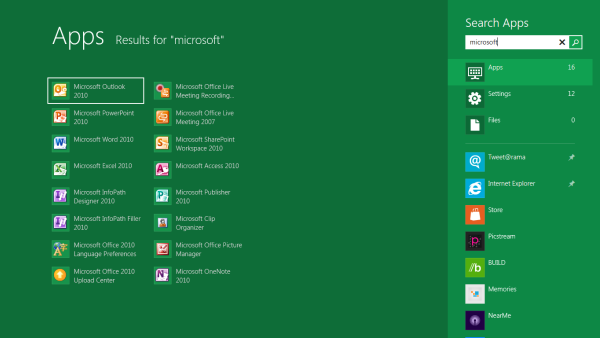 Windows 8 App Search Results