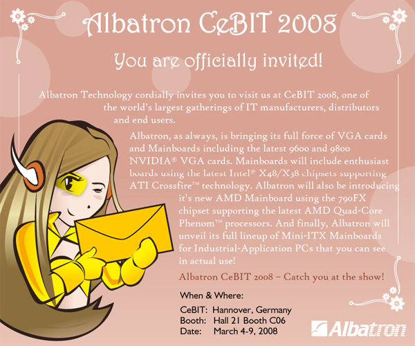 Albatron's CeBIT 2008 invitation